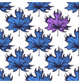 seamless pattern with maple leaves of blue color vector image