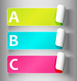 Set 3-peeling labels with letters vector image vector image