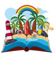 summer open book on white background vector image