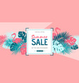 summer sale poster with tropic leaves and vector image