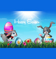 two easter bunnies with decorated easter eggs in a vector image vector image