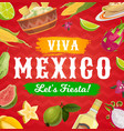 viva mexico fiesta party food and drink background vector image