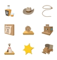 wild west usa icons set cartoon style vector image vector image