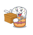 with box easter cake character cartoon vector image