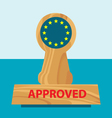 wooden office rubber stamper with flag of EU vector image vector image