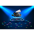spotlights on stage with blue lights vector image