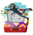 a scuba diver on the luggage vector image vector image