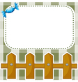 A stationery with a wooden fence and a candy vector image
