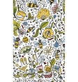 Abstract floral pattern with bees sketch for your vector image