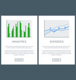 analytics chart and statistics graph color cards vector image vector image