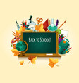 back to school chalked text on blackboard vector image vector image