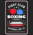 boxing fighting club tournament retro flyer vector image
