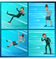 business person go against wind falling down vector image