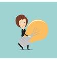 Business woman carrying huge idea light bulb vector image