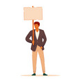 businessman protester with blank placard on white vector image vector image