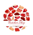 Butchery shop fresh meat poster vector image vector image