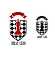 Chess emblem with king on checkered shield vector image