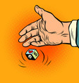 choosing between love and money hand throws dice vector image vector image