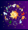 colored zodiac circle with cartoon characters