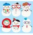 cute doodle snowmen vector image vector image