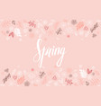 design banner with spring is here logo vector image vector image