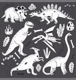 doodle line cute dinosaurs set vector image