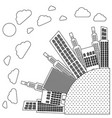 figure round city with builds and clouds vector image vector image