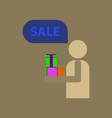 flat icon of human stick figure gifts discounts vector image vector image
