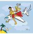 Flying on plane to beach vector image