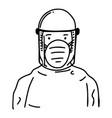 hand drawn coronavirus medical personnel vector image