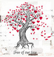 hand drawn valentines day tree with red hearts vector image vector image