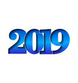 happy new year card 3d number 2019 with blue vector image vector image