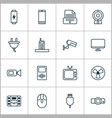 hardware icons set with media device music player vector image vector image