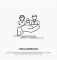 insurance health family life hand icon line gray vector image