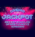 jackpot casino neon font vector image