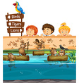 Kids looing at beavers in the zoo vector image vector image