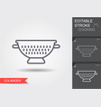 kitchen colander line icon with editable stroke vector image vector image