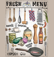 kitchen tools food ingredients with captions vector image