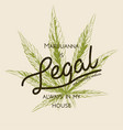 legal marijuana weed cannabis green leaf retro vector image