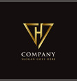 luxury elegance triangle and letter h logo icon vector image