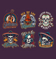 mexican day dead vintage emblems vector image vector image