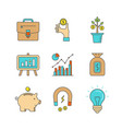 minimal lineart flat business and finance iconset vector image
