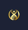 people dna human gold logo vector image