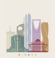 riyadh v2 skyline poster vector image vector image