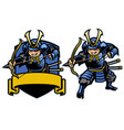 samurai ronin warrior archer mascot set vector image