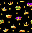 seamless pattern with king crown icons assets vector image