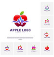 set of apple with medical pulse logo concept vector image