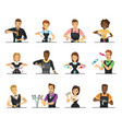 set of cartoon bartender characters vector image vector image