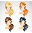 Set Of Fashion Wave Hair Styling vector image vector image