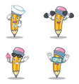 set of pencil character with sailor fitness ice vector image vector image